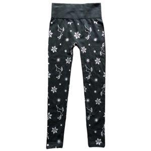 French Laundry Black and Silver Christmas Leggings